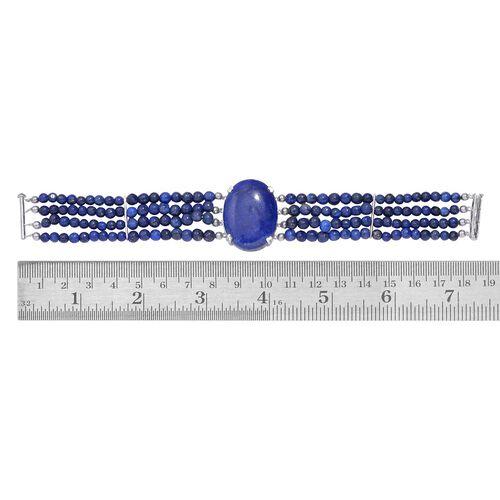 Lapis Lazuli (Ovl) Bracelet in Platinum Overlay Sterling Silver (Size 7) 42.750 Ct.