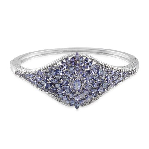 AA Tanzanite (Mrq) Bangle (Size 7.5) in Platinum Overlay Sterling Silver 8.750 Ct.