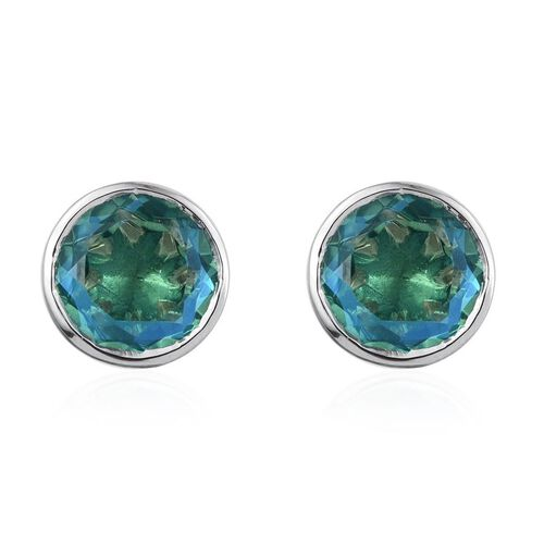 Peacock Quartz (Rnd) Stud Earrings (with Push Back) in Platinum Overlay Sterling Silver 8.000 Ct.
