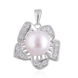 Fresh Water White Pearl and Simulated White Diamond Pendant in Rhodium Plated Sterling Silver