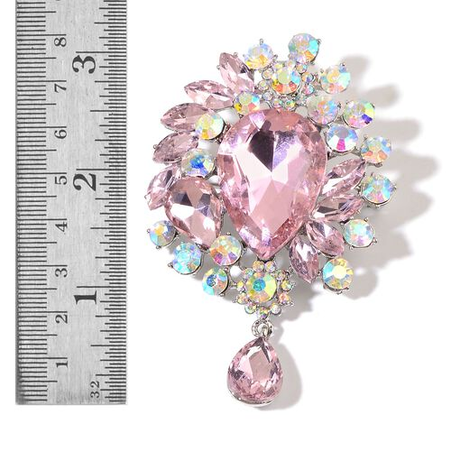 Pink Glass and White Austrian Crystal Brooch in Silver Tone