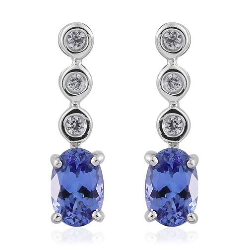 9K W Gold AA Tanzanite (Ovl), Natural Cambodian Zircon Earrings (with Push Back) 0.990 Ct.
