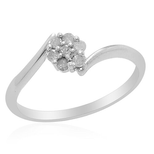 Diamond Platinum Overlay Sterling Silver Ring  0.14 Ct.