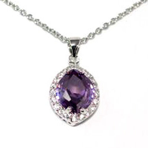 Simulated Diamond and Simulated Amethyst Silver Tone Pendant  7.300  Ct.