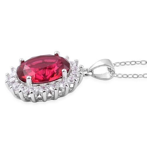 AAA Simulated Ruby and Simulated White Diamond Pendant With Chain in Rhodium Plated Sterling Silver