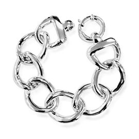 Thai Statement Collection Sterling Silver Curb Bracelet (Size 7), Silver wt 24.00 Gms.