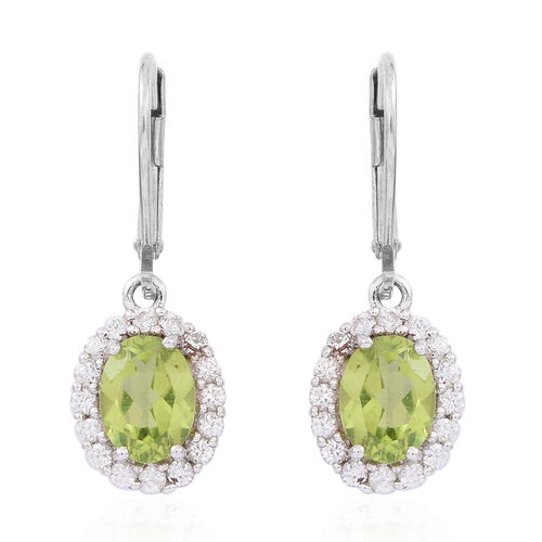Hebei Peridot (Ovl), Natural White Zircon Lever Back Earrings in Rhodium Plated Sterling Silver 3.750 Ct.