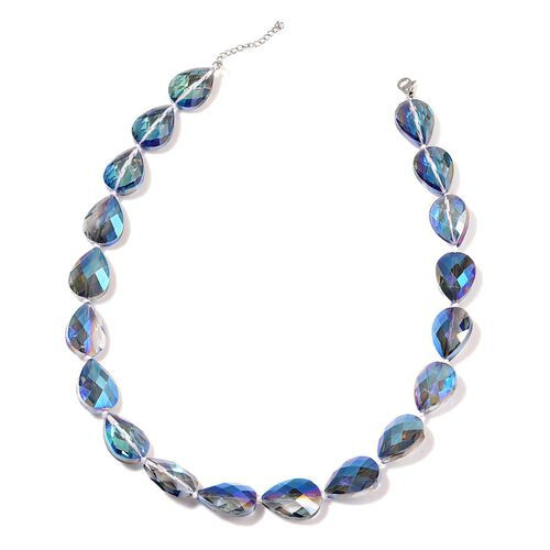 Blue Glass Necklace (Size 21 with Extender ) in Stainless Steel