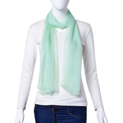 100% Mulberry Silk Turquoise Green Colour Scarf (Size 170X70 Cm)