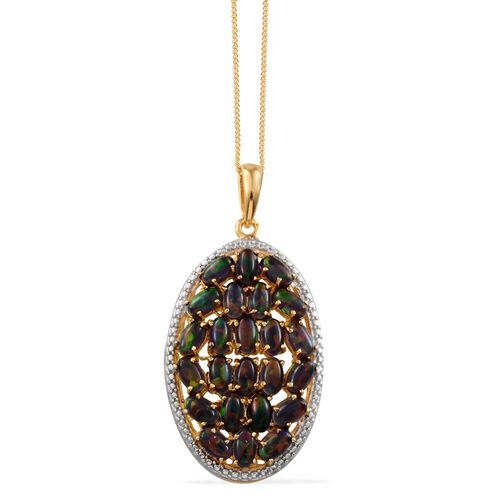 Simulated Black Opal (Ovl) Cluster Pendant With Chain in 14K Gold Overlay Sterling Silver 3.250 Ct.