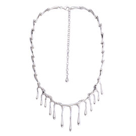 LucyQ Short Multi Drip Necklace (Size 20 with Extender) in Rhodium Plated Sterling Silver 44.20 Gms.