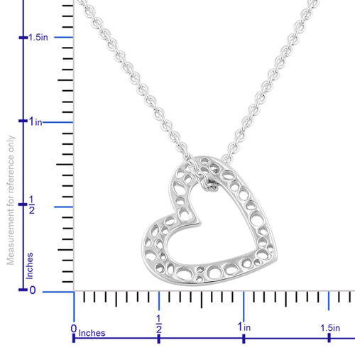 RACHEL GALLEY Rhodium Plated Sterling Silver Heart Pendant with Chain (Size 20), Silver wt 7.56 Gms.
