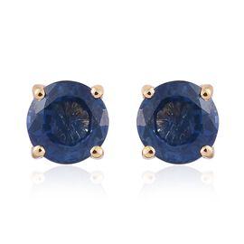ILIANA 18K Yellow Gold 1.25 Carat AAA Kanchanaburi Blue Sapphire Round Solitaire Stud Earrings with Screw Back.