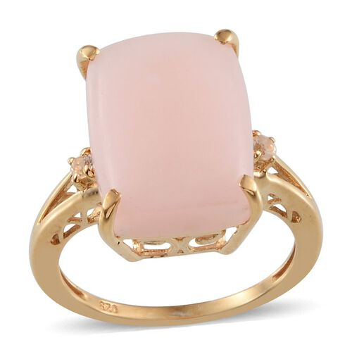 Peruvian Pink Opal (Cush 6.50 Ct), White Topaz Ring in 14K Gold Overlay Sterling Silver 6.650 Ct.