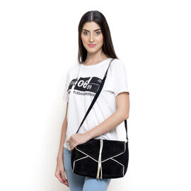 Genuine Leather Black Colour Crossbody Bag with Golden Trims and Shoulder Strap (Size 28x21.5x7.5 Cm)
