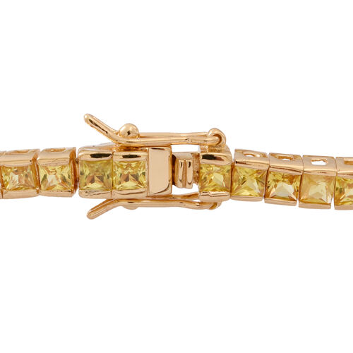 Yellow Sapphire (Sqr) Tennis Bracelet (Size 7.5) in 14K Gold Overlay Sterling Silver 9.000 Ct.