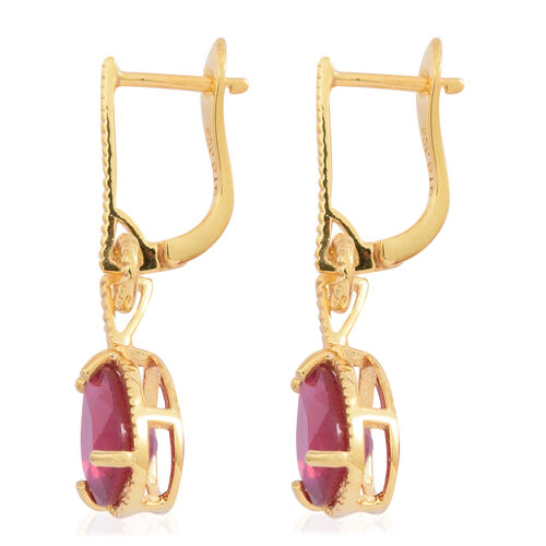 AAA African Ruby (Pear) Earrings (with Clasp) in 14K Gold Overlay Sterling Silver 4.000 Ct.