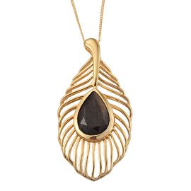 Natural Zawadi Golden Sheen Sapphire (Pear) Feather Pendant With Chain in 14K Gold Overlay Sterling Silver 6.000 Ct.