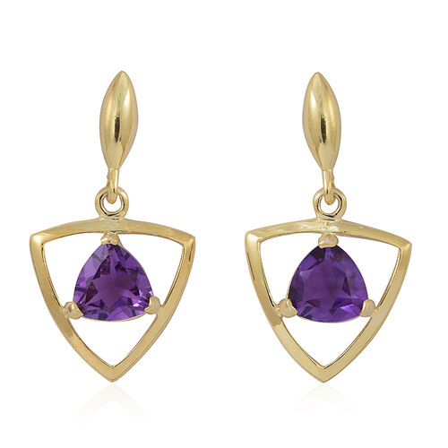 Amethyst (Trl) Earrings (with Push Back) in 14K Gold Overlay Sterling Silver 2.000 Ct.
