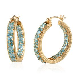 Yellow Gold Plated Silver 6.25 Carat Paraibe Apatite Inside Out Hoop Earrings