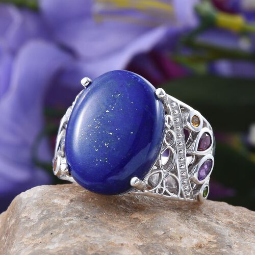 GP Lapis Lazuli (Ovl 21.50 Ct), Amethyst, Rhodolite Garnet, Russian Diopside, Kanchanaburi Blue Sapphire and Citrine Ring in Platinum Overlay Sterling Silver 22.750 Ct.