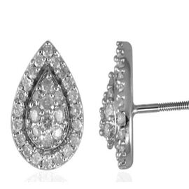9K W Gold SGL Certified Diamond (Rnd) (I3 / G-H) Stud Earrings (with Screw Back) 0.500 Ct.