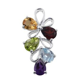 Hebei Peridot, Mozambique Garnet, Sky Blue Topaz, Citrine and Amethyst Pendant in Sterling Silver.