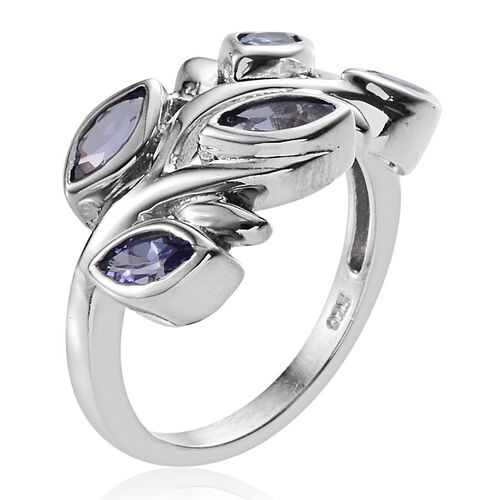 Tanzanite (Mrq) Ring in Platinum Overlay Sterling Silver 1.250 Ct.