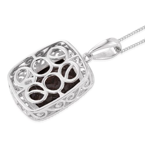 Natural Zawadi Golden Sheen Sapphire (Cush) Solitaire Pendant With Chain in Platinum Overlay Sterling Silver 8.750 Ct.