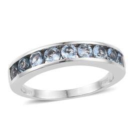 RHAPSODY 950 Platinum 1 Carat Santa Maria Aquamarine Half Eternity Ring in Channel Set.