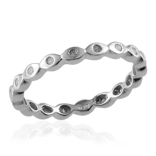Diamond (Rnd) Full Eternity Ring in Platinum Overlay Sterling Silver 0.250 Ct.