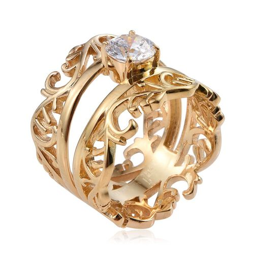 J Francis - 14K Gold Overlay Sterling Silver (Rnd) Ring Made with SWAROVSKI ZIRCONIA