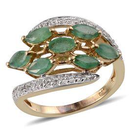 Kagem Zambian Emerald (Mrq), White Topaz Ring in 14K Gold Overlay Sterling Silver 1.900 Ct.