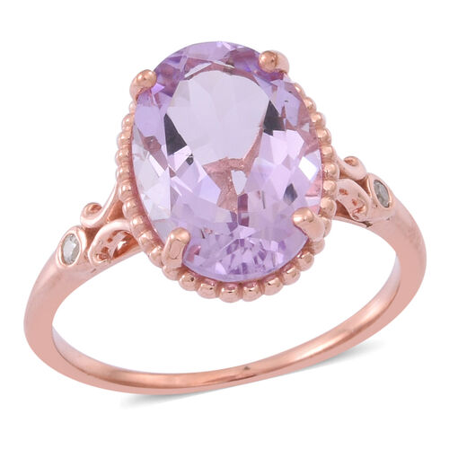 Rose De France Amethyst (Ovl 4.92 Ct), Natural Cambodian White Zircon Ring in 14K Rose Gold Overlay Sterling Silver 5.000 Ct.