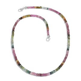 AAA Brazilian Rainbow Tourmaline Beads Necklace (Size 18) in Platinum Overlay Sterling Silver 45.00 Ct.