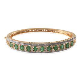 Kagem Zambian Emerald (Ovl), White Topaz Bangle (Size 7.5) in 14K Gold Overlay Sterling Silver 6.250 Ct.