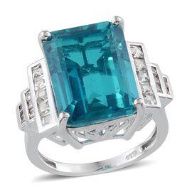 Capri Blue Quartz (Oct 12.25 Ct), White Topaz Ring in Platinum Overlay Sterling Silver 13.250 Ct.