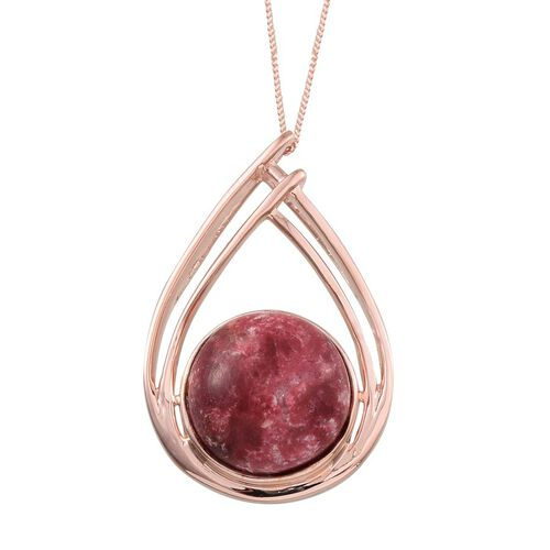 Norwegian Thulite (Rnd) Pendant With Chain in Rose Gold Overlay Sterling Silver 12.000 Ct.