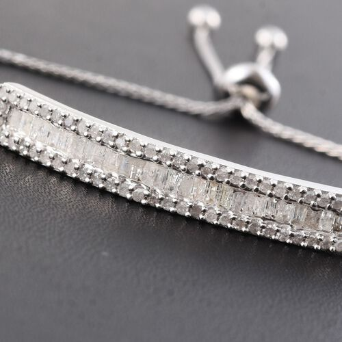 Diamond (Bgt) Adjustable Bracelet (Size 6.5 to 7.5) in Platinum Overlay Sterling Silver 0.751 Ct.