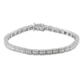 Diamond (Bgt) Bracelet (Size 8) in Platinum Overlay Sterling Silver 3.000 Ct.
