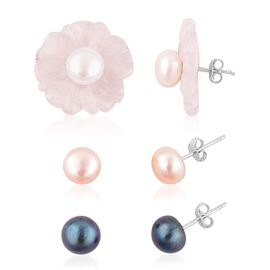 Set of 3 - Rose Quartz (22.00 Cts), Fresh Water Peacock, Peach and White Pearl Interchangeable Stud Earrings (with Push Back) in Rhodium Plated Sterling Silver 32.500 Ct.