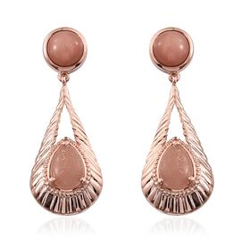 Morogoro Peach Sunstone (Pear) Earrings (with Push Back) in Rose Gold Overlay Sterling Silver 8.000 Ct.