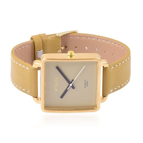 Designer Inspired- STRADA Japanese Movement Golden Dial Watch in Gold Tone with Stainless Steel Back and Golden Colour Strap
