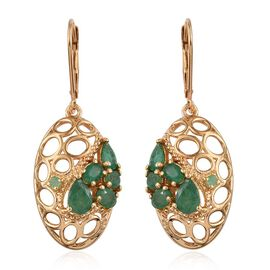 GP Kagem Zambian Emerald (Pear), Kanchanaburi Blue Sapphire Lever Back Earrings in 14K Gold Overlay Sterling Silver 2.000 Ct.