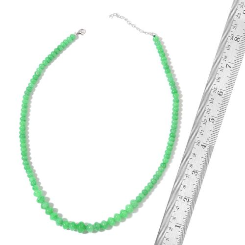 Green Jade Beaded Necklace (Size 18 with 2 inch Extender) in Rhodium Plated Sterling Silver 145.000 Ct.
