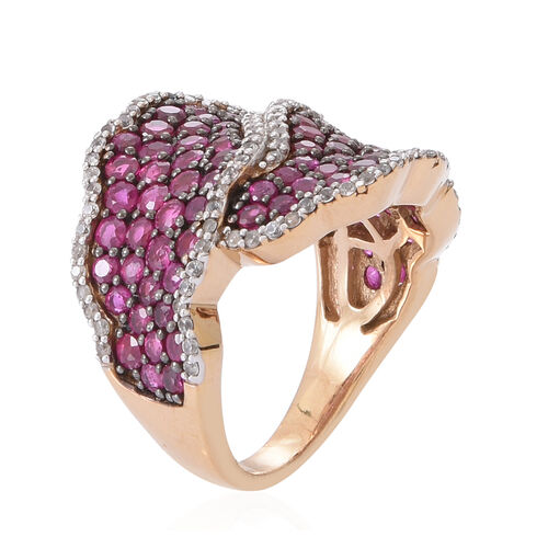 Burmese Ruby (Rnd), Natural Cambodian White Zircon Ring in 14K Yellow Gold Overlay Sterling Silver 4.250 Ct.