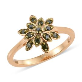 Green Diamond (Rnd) Snowflake Ring in 14K Gold Overlay Sterling Silver 0.150 Ct.
