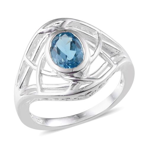 Electric Swiss Blue Topaz (Ovl) Solitaire Ring in Sterling Silver 1.250 Ct.