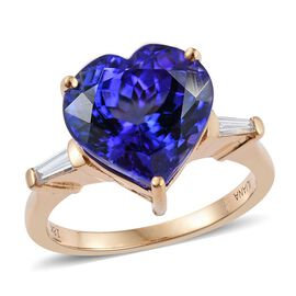 ILIANA 18K Y Gold AAAA Tanzanite (Hrt 7.50 Ct), Diamond (SI/G-H) Ring 7.750 Ct.