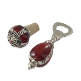 Home Decor - Brass Silver Plated Red Glass Bottle Opener and Cork Stopper in a Box